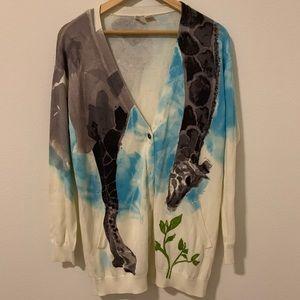 NWOT Watercolor Giraffe Anthropologie Cardigan